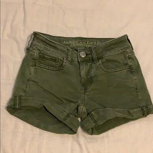Army green denim shorts American eagle